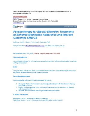 This Is an Excellent Article on Treating Bipolar Disorder and How to Complement the Use