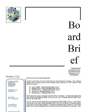 This Publication Is Designed to Share the Actions from the November 14, 2011 Board Meeting