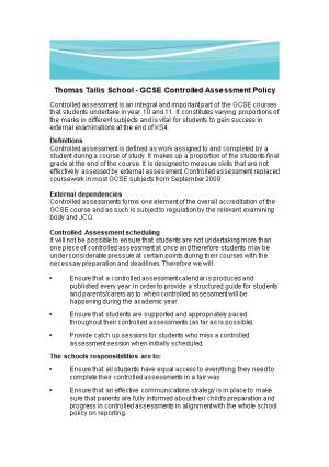 Thomas Tallis School - GCSE Controlled Assessment Policy