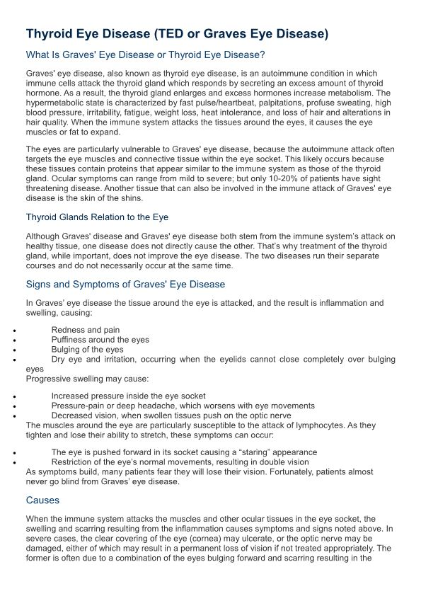 Thyroid Eye Disease (TED Or Graves Eye Disease)