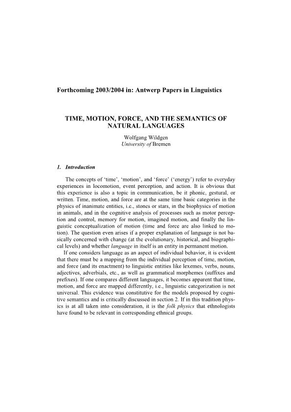 Time, Motion, Force, and the Semantics of Natural Languages