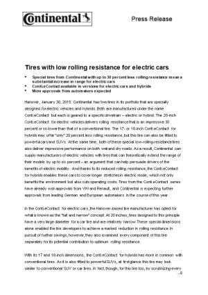 Tires with Low Rolling Resistance for Electric Cars