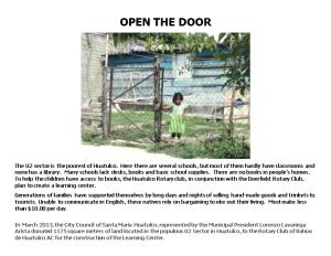Title of Project: Open the Door: Huatulco Learning & Cultural Center