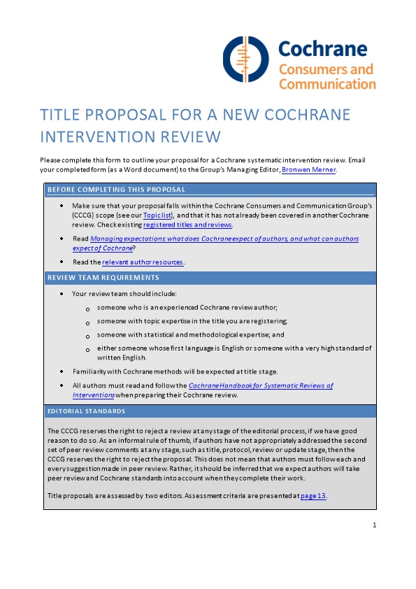 Title PROPOSAL for a NEW COCHRANE INTERVENTION REVIEW