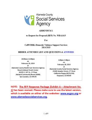 To Request for Proposal (RFP) No. WBA1415