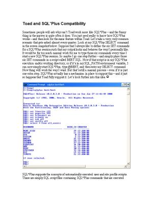 Toad and SQL Plus Compatibility