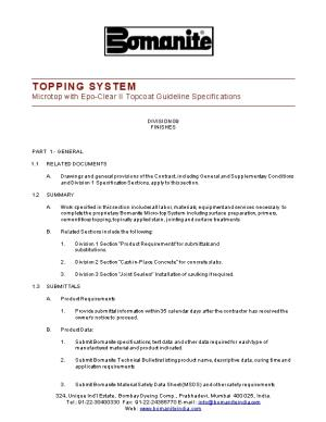 TOPPING SYSTEM Microtop with Epo-Clear II Topcoat Guideline Specifications