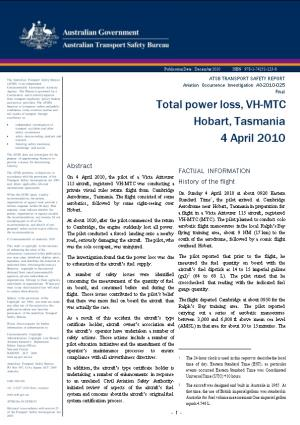 Total Power Loss, VH-MTC Hobart, Tasmania 4 April 2010