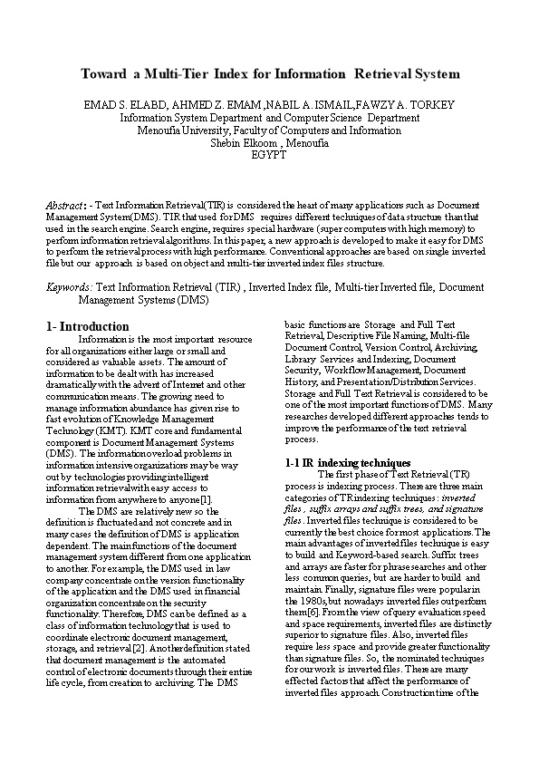 Toward a Multi-Tier Index for Information Retrieval System