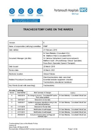 Tracheostomy Care on the Wards