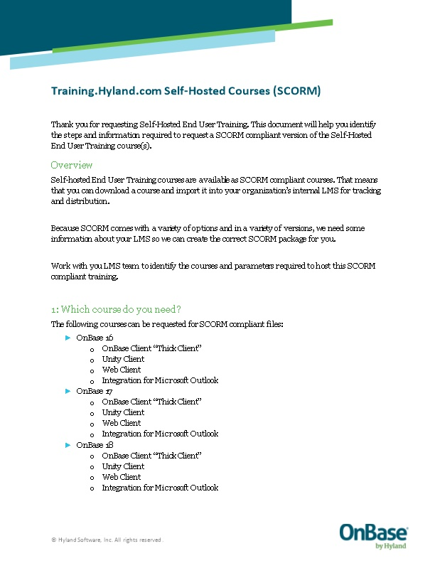 Training.Hyland.Com Self-Hosted Courses (SCORM)