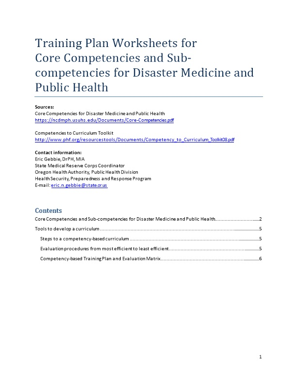 Training Plan Worksheets for Core Competencies and Sub-Competencies