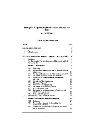 Transport Legislation (Further Amendment) Act 2005