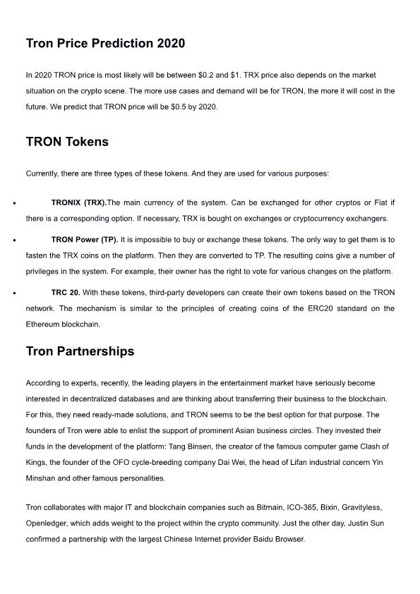 Tron Price Prediction 2020