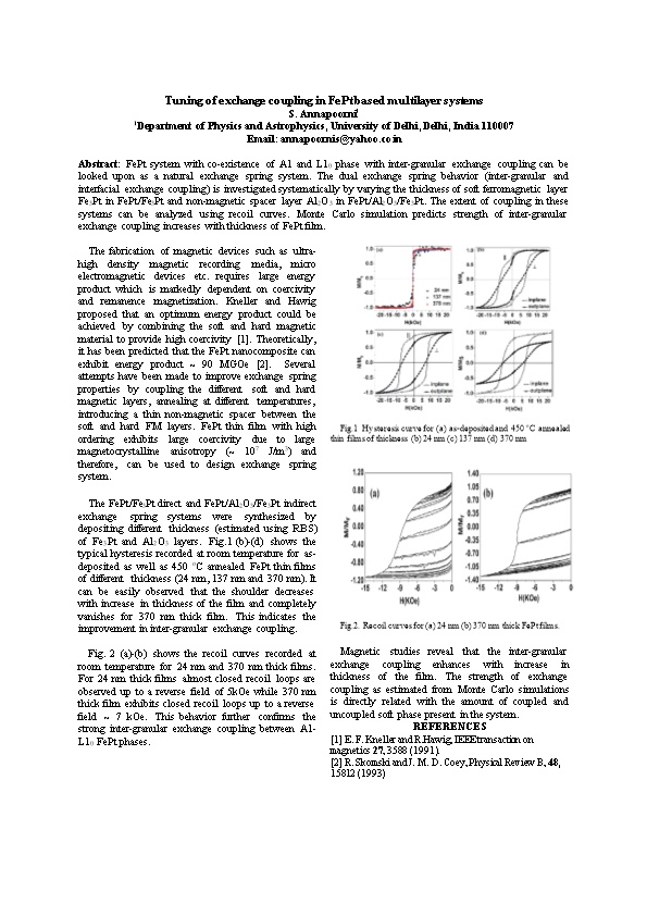 Tuning of Exchange Coupling in Fept Based Multilayer Systems