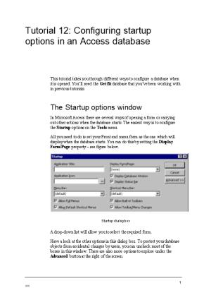 Tutorial 11 Configuring Startup Options in an Access Database