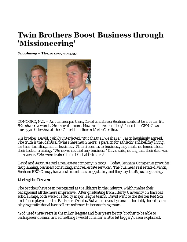 Twin Brothers Boost Business Through 'Missioneering'