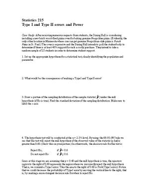 Type I and Type II Errors and Power
