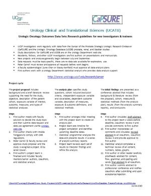 UCSF Urologic Oncology Data Sets: Checklist for Submitting Abstracts and Manuscripts