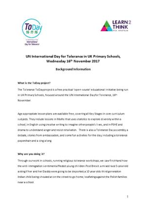 UN International Day for Tolerance in UK Primary Schools