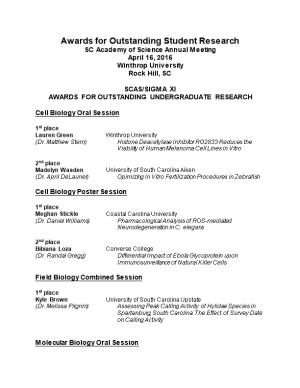Undergraduate Research Competition: Winners at SCAS Meeting: March 2005