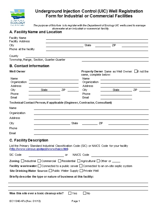 Underground Injection Control (UIC) Stormwater Well Registration Form for Industrial Or