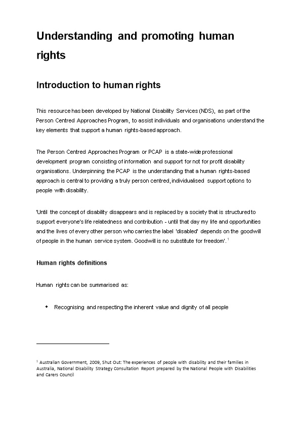 Understanding and Promoting Human Rights