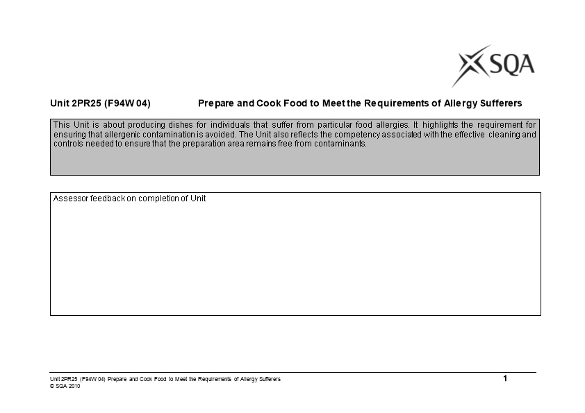 Unit 2PR25 (F94W 04)Prepare and Cook Food to Meet the Requirements of Allergy Sufferers