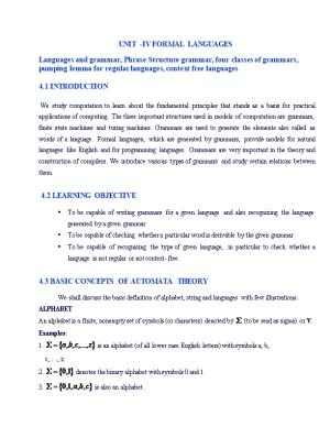 Unit -Iv Formal Languages