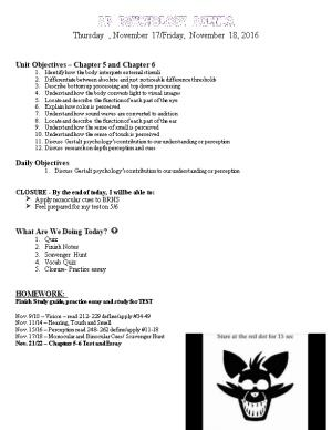 Unit Objectives Chapter 5 and Chapter 6
