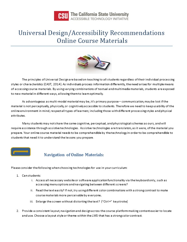 Universal Design/Accessibility Recommendations