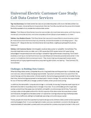 Universal Electric Customer Case Study: Colt Data Center Services