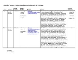 University of Delaware: Current Limited Submission Opportunities As of 01/21/11