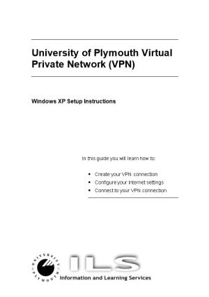 University of Plymouth Virtual Private Network (VPN)