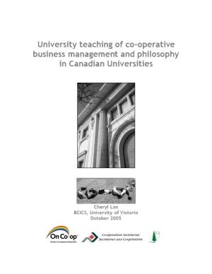 University Teaching of Co-Operative Business Management and Philosophy in Canadian Universities