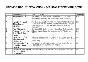 Uplyme Church Silent Auction Saturday 27 September, 3-7Pm
