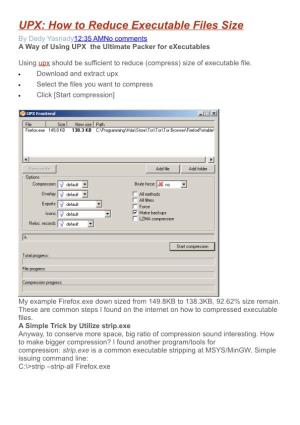 UPX: How to Reduce Executable Files Size
