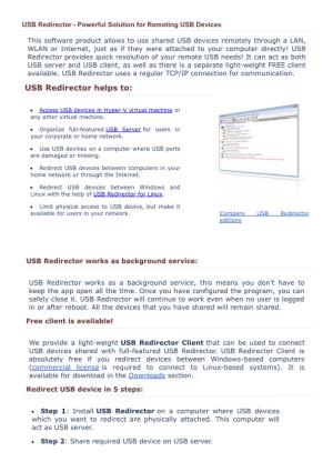 USB Redirector - Powerful Solution for Remoting USB Devices