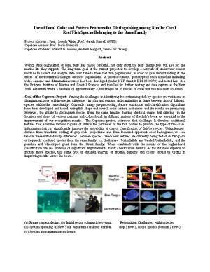 Use of Local Color and Pattern Features for Distinguishing Among Similar Coral