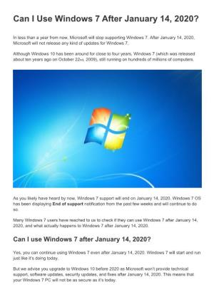 Use Windows 7 After January 14, 2020