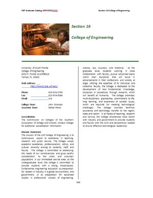 USF Graduate Catalog 2009-2010-2011 Section 16 College of Engineering