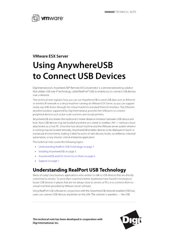 Using Anywhereusb to Connect USB Devices