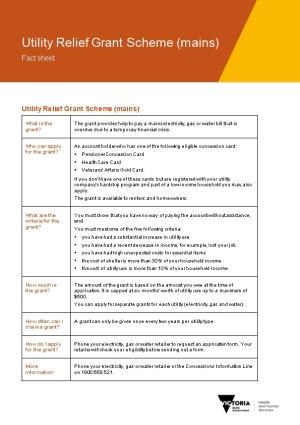 Utility Relief Grant Scheme (Mains) Fact Sheet