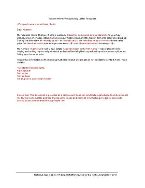 Vacant Home Prospecting Letter Template