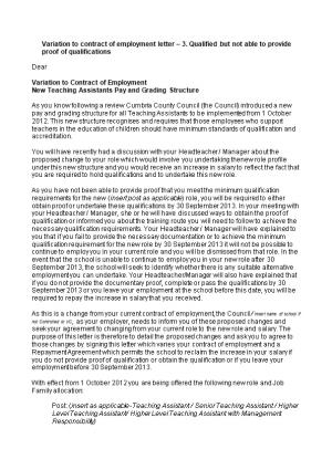 Variation to Contract of Employment Letter 3