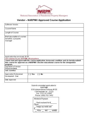 Vendor NARPM Approved Course Application