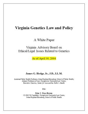 Virginia Genetics Law and Policy