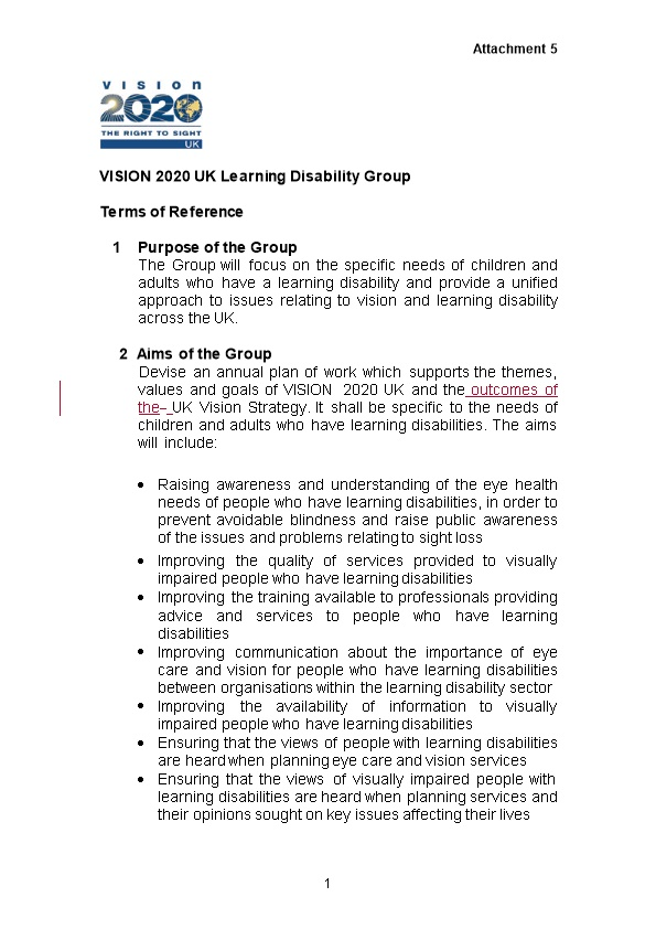 VISION 2020 UK Learning Disability Group