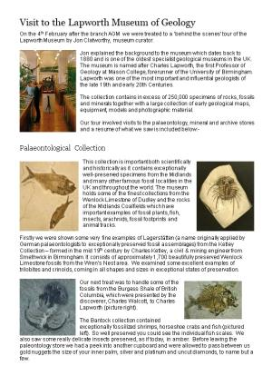 Visit to the Lapworth Museum of Geology