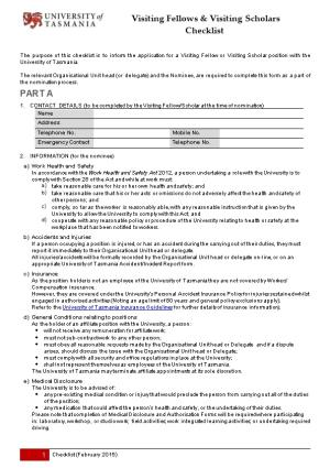 Volunteer Indemnity/Induction Checklist for Project Work